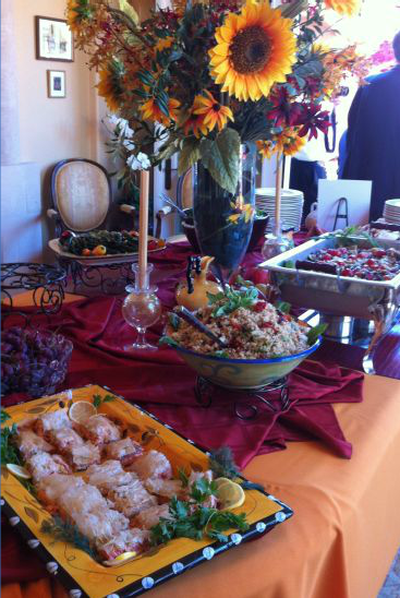 variety of food being served at an event