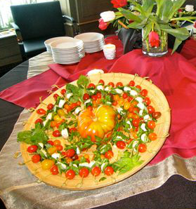 Big pizza served at an event