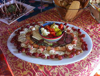 View of a platter being served in a round plate