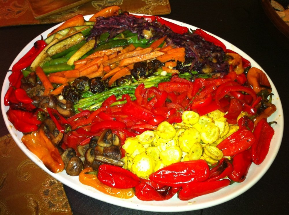 Veg platter served in a round white plate