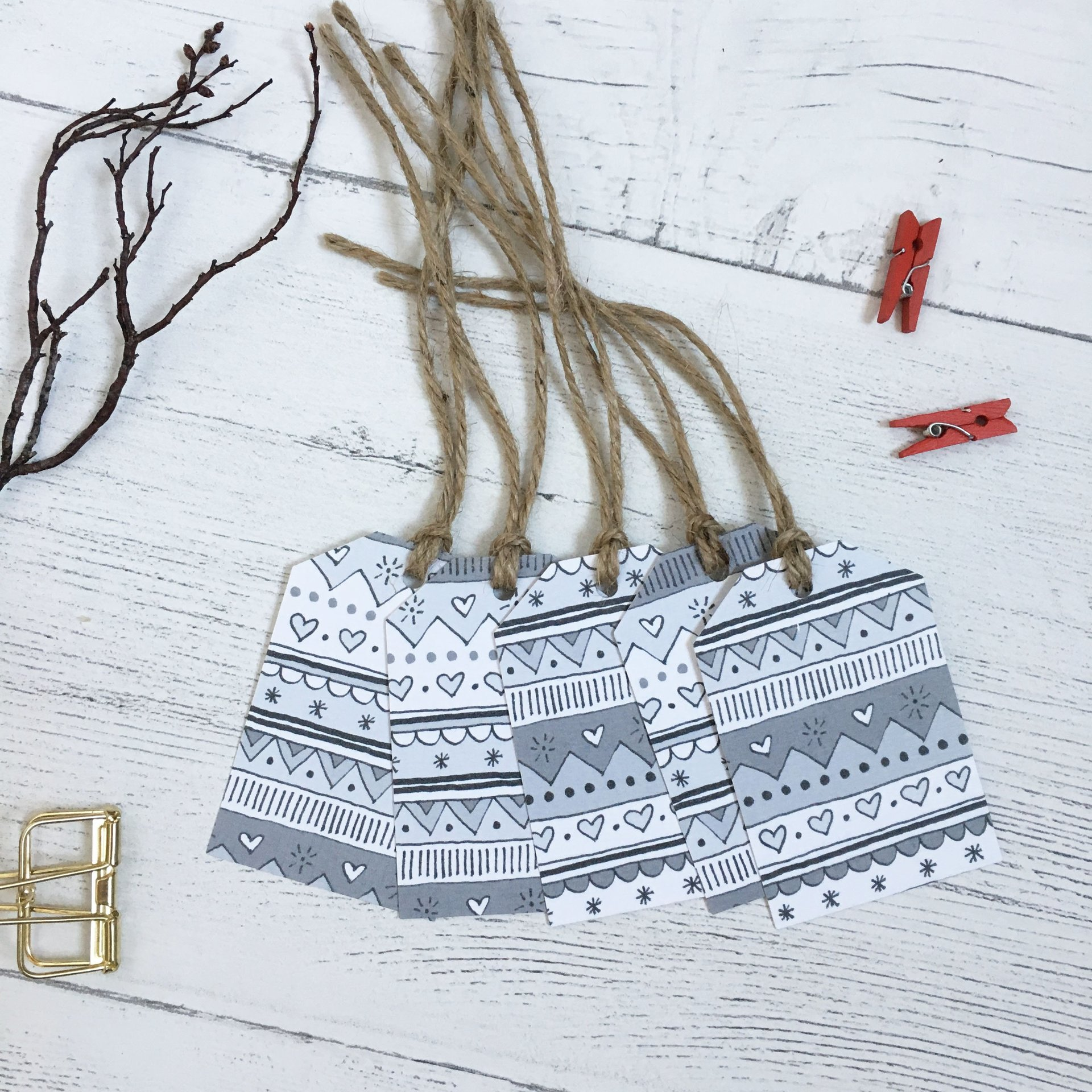 Nordic grey christmas tags