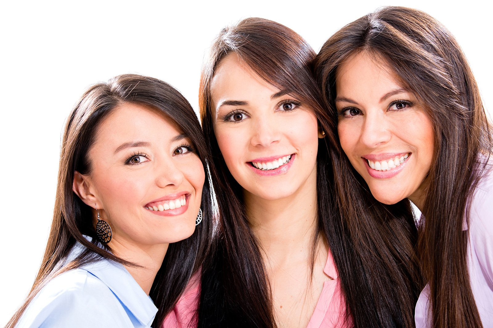 Three smiling young women