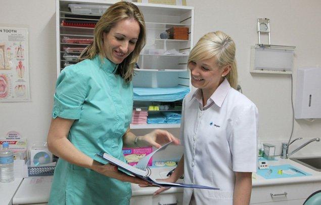 dentists looking at charts