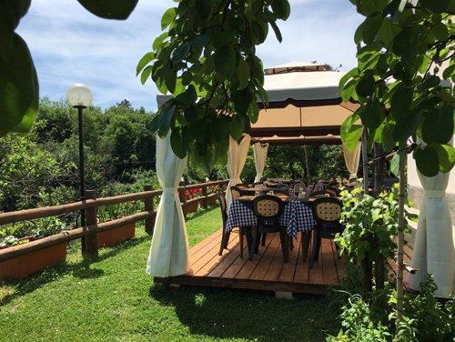 vista del ristorante agriturismo con rialzo in legno