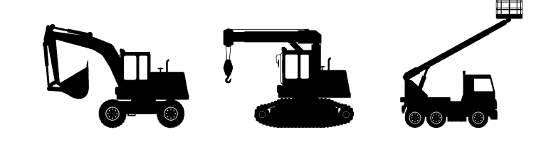 silhouette of construction equipment
