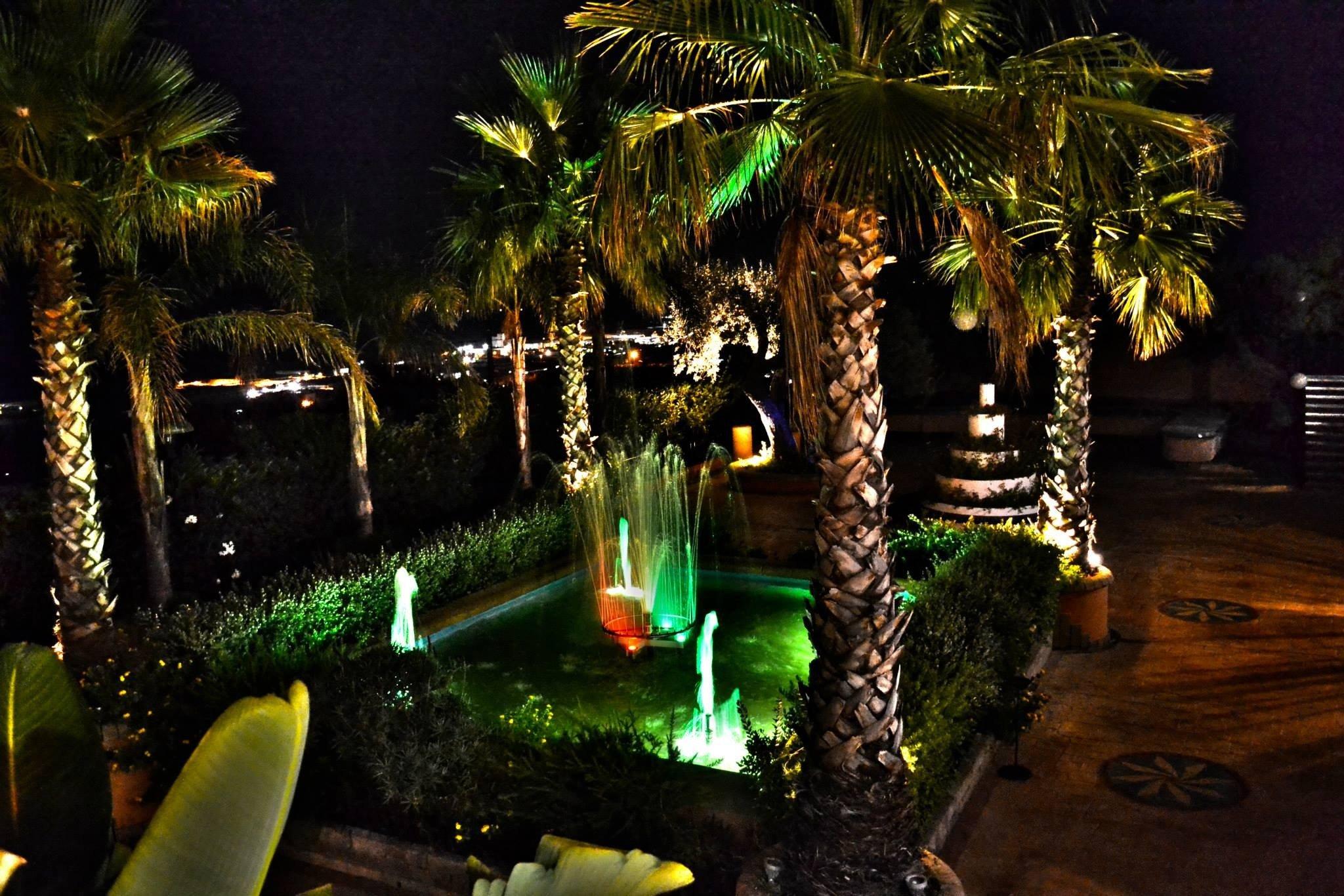 Fontana illuminata esterna con palme