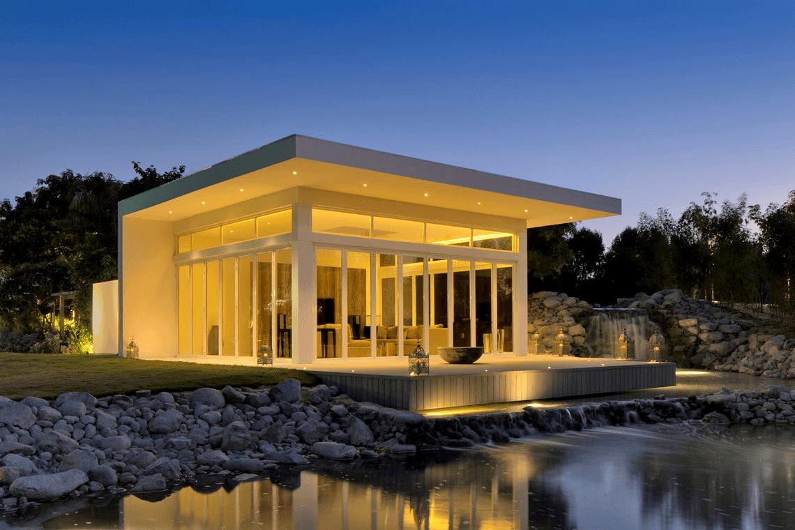 illuminated building exterior