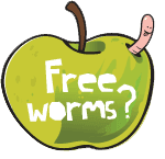 Worm eating an apple
