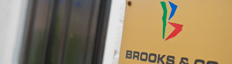 Brooks & Co entrance and nameplate