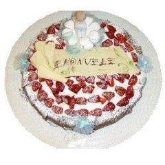 torta con panna, panna e fragole, torta panna fresca