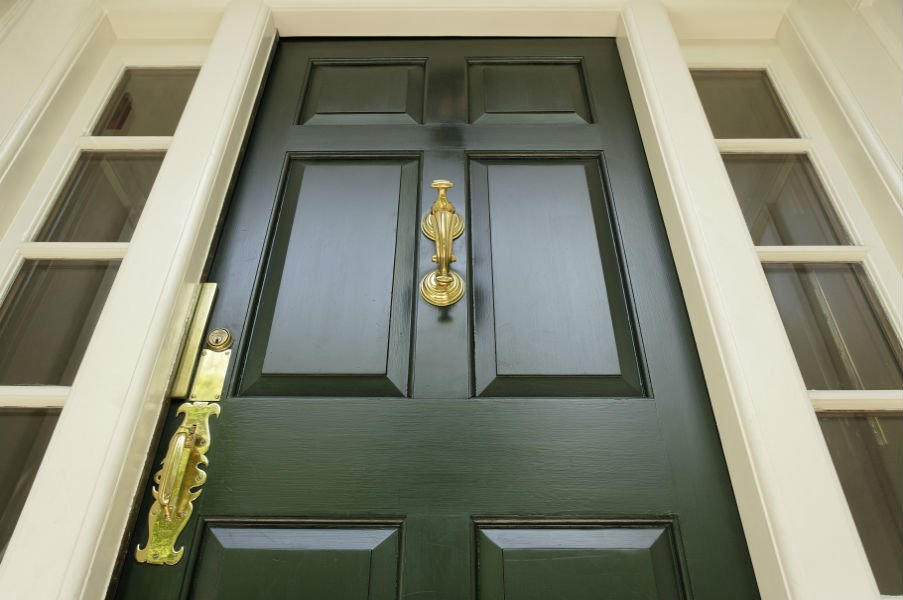 porta ingresso legno verde