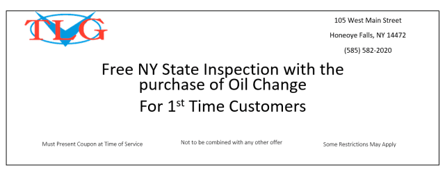 free new york state inspection oil change