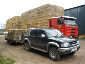 A jeep and lorry with stacks of hay