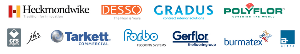Commercial Flooring logs for Heckmondwike, Desso, Gradus, Polyflor, CFS Carpets, JHS, Tarkett Commercial, Forbo Flooring Systems, Gerflor the flooring group, Burmatex & Altro
