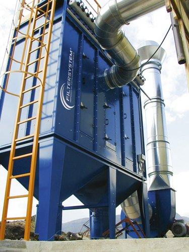 un impianto di color blu con scritto Filtersystem