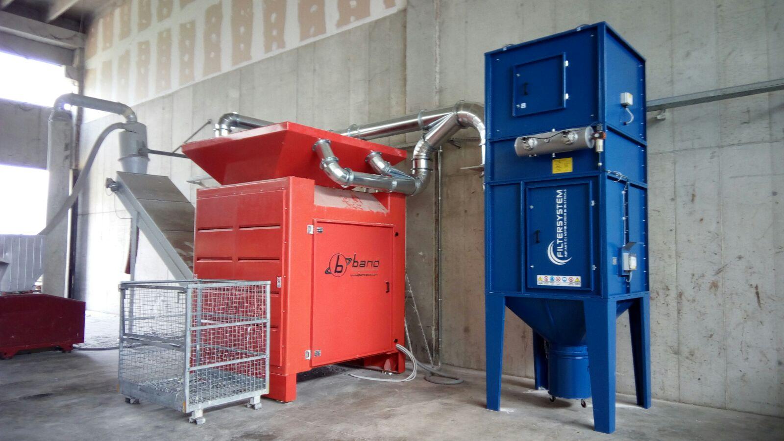 aspirazione da macinatore trituratore rifiuti