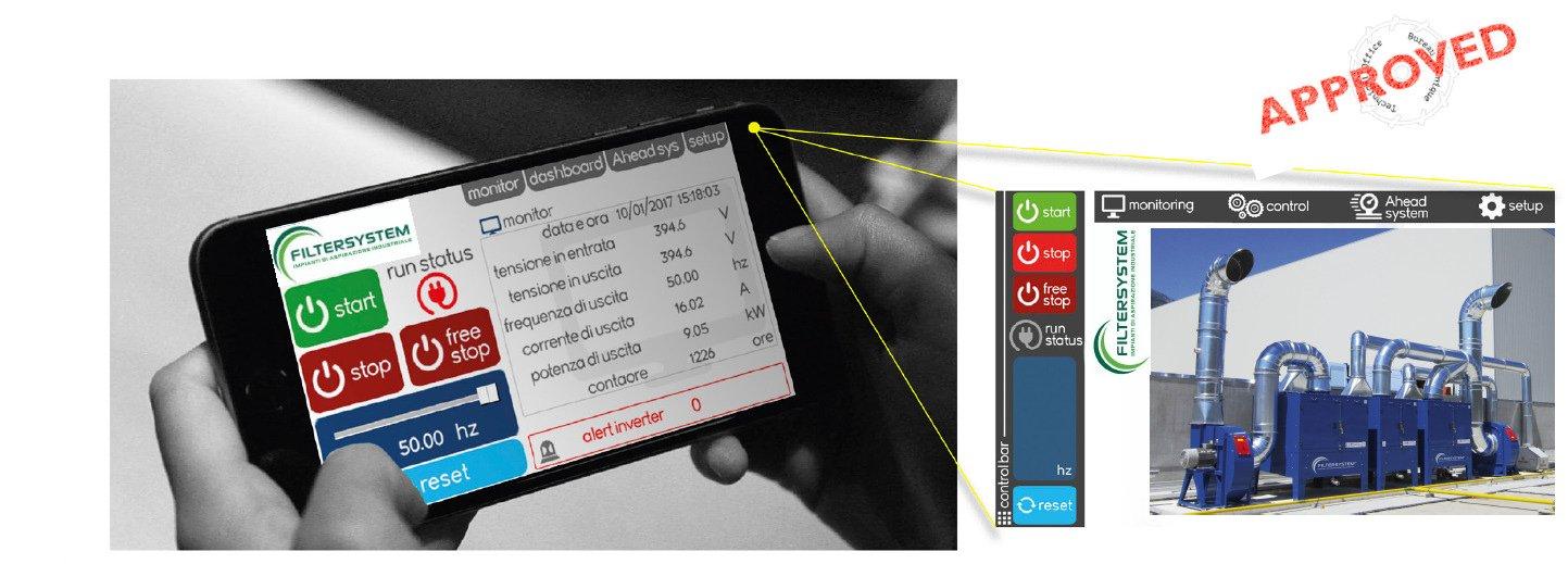 uno smartphone che usa l'applicazione Filtersystem e accanto l'immagine di un impianto