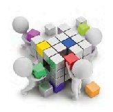 degli omini che assemblano un cubo di Rubick