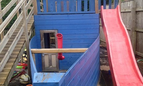 Wooden climbers, towers and slides