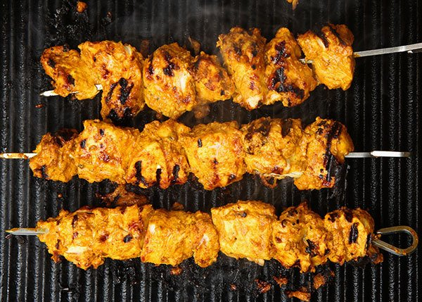 Indian food on a grill