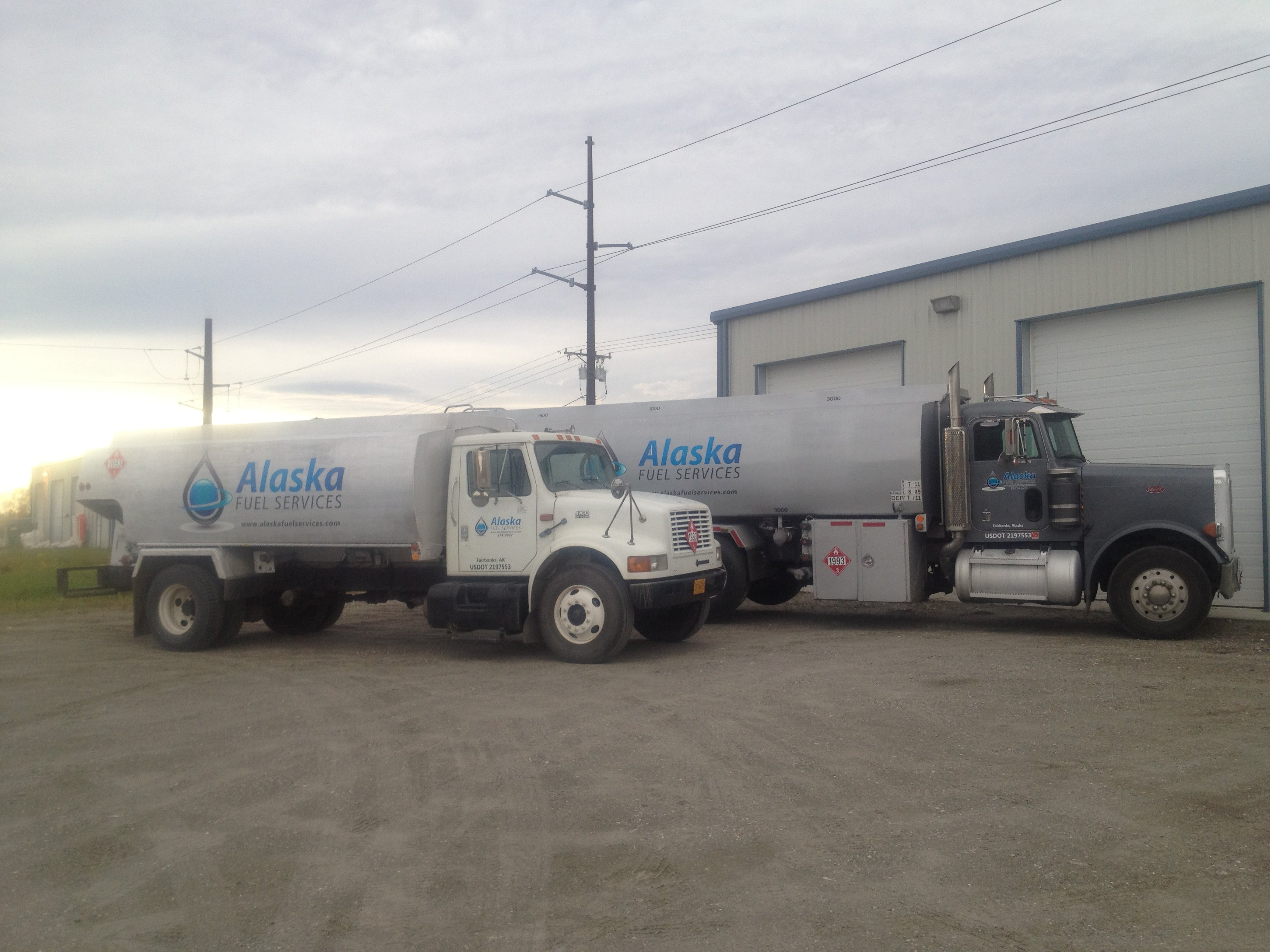 Some fuel trucks in front of our building in Fairbanks, AK