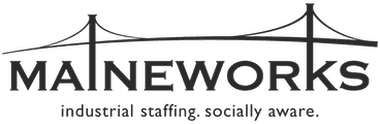 Maineworks industrial staffing, socially aware. Logo