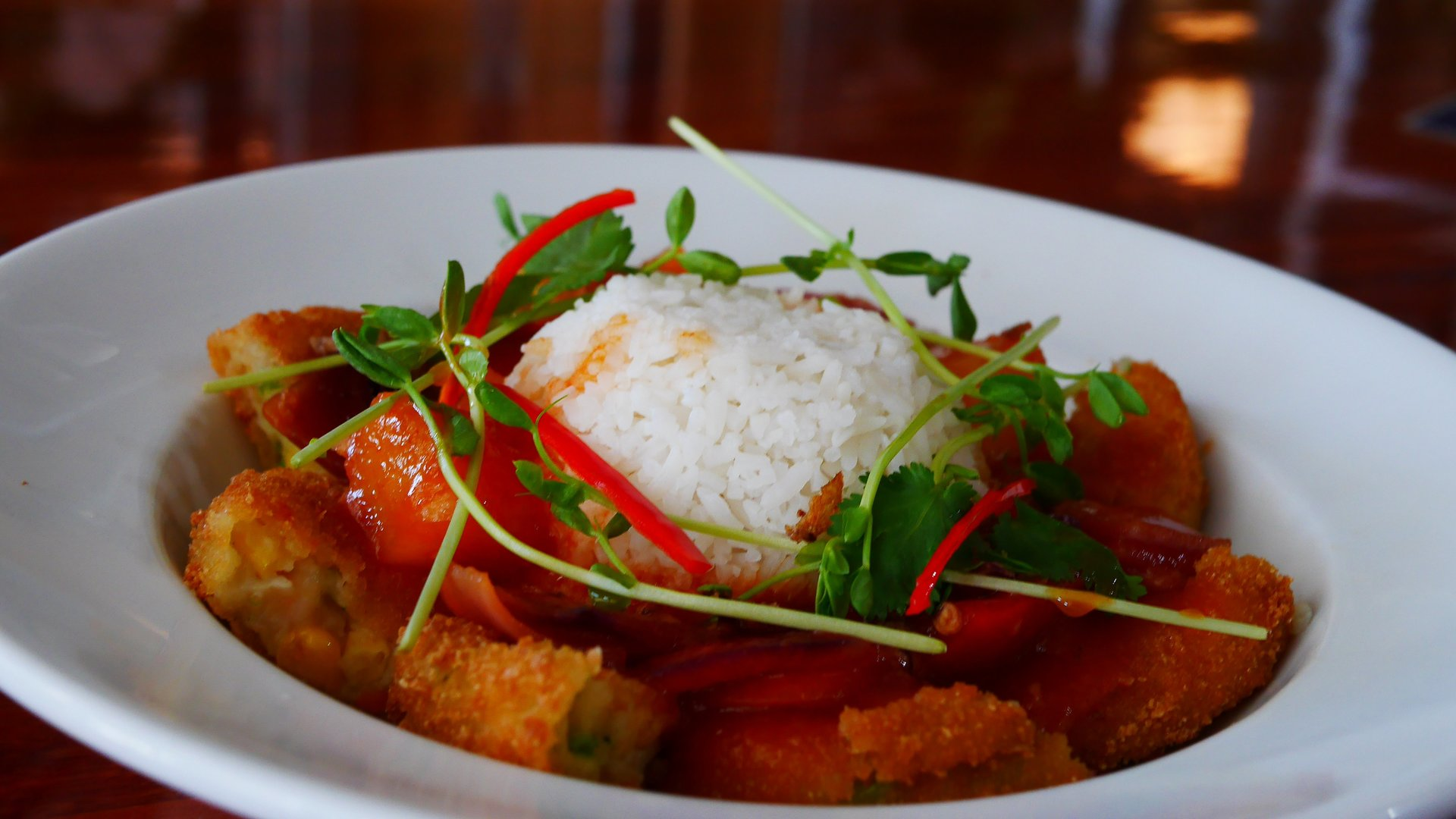 Sweet & Sour Vegetarian Croquettes with Rice