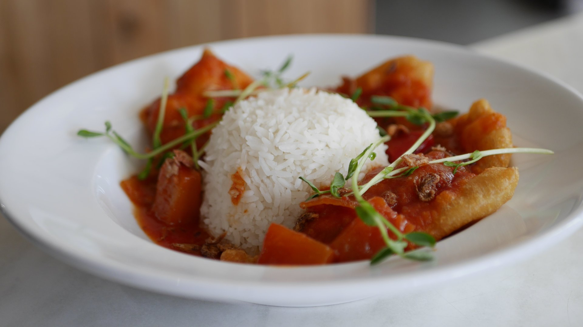 Street Eats Gallery - Singaporean Sweet, Sour & Spicy Fish w Rice - Image 1