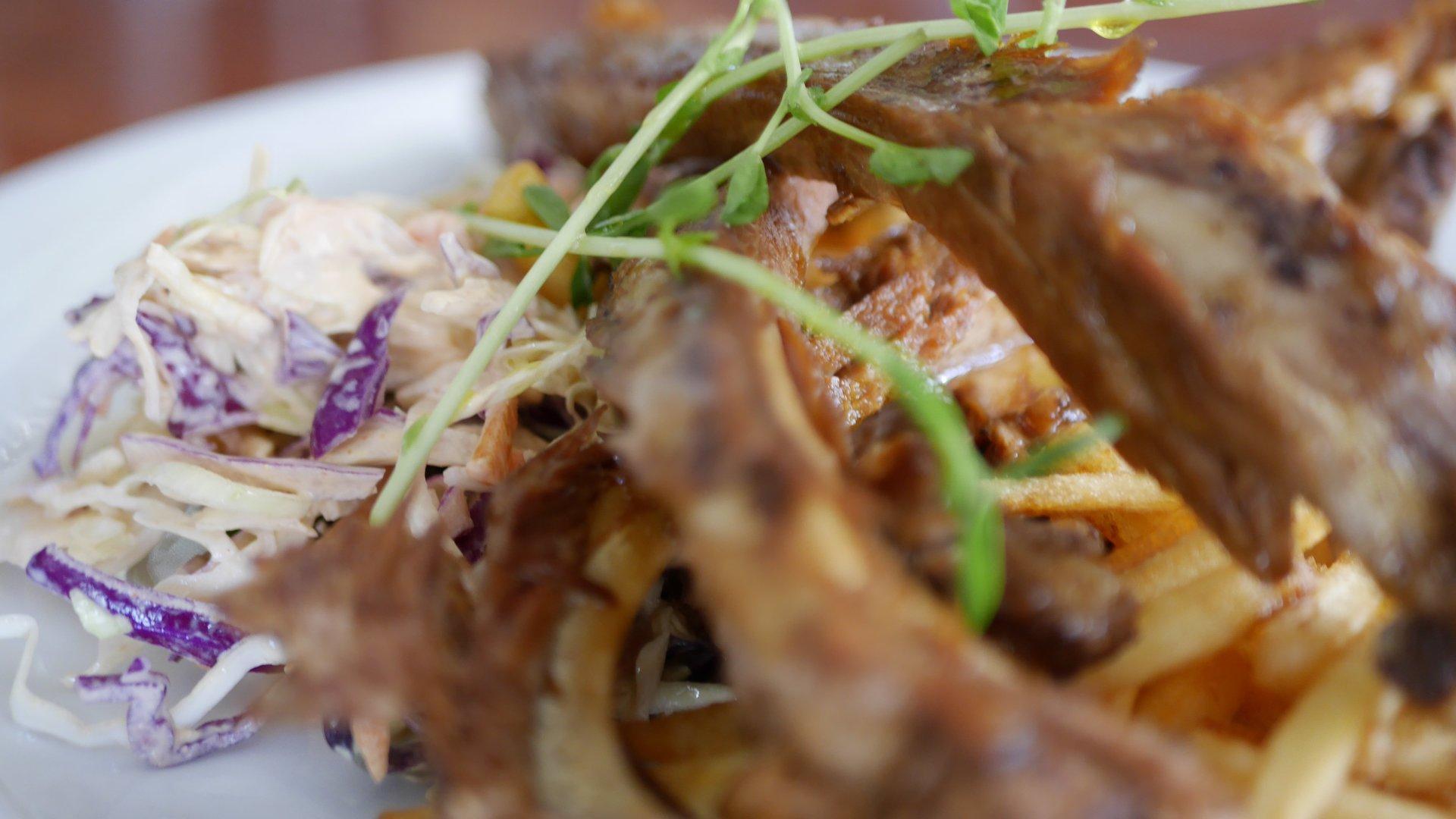 Japanese Yakitori - Marinated Pork Ribs with Slaw and Fries.
