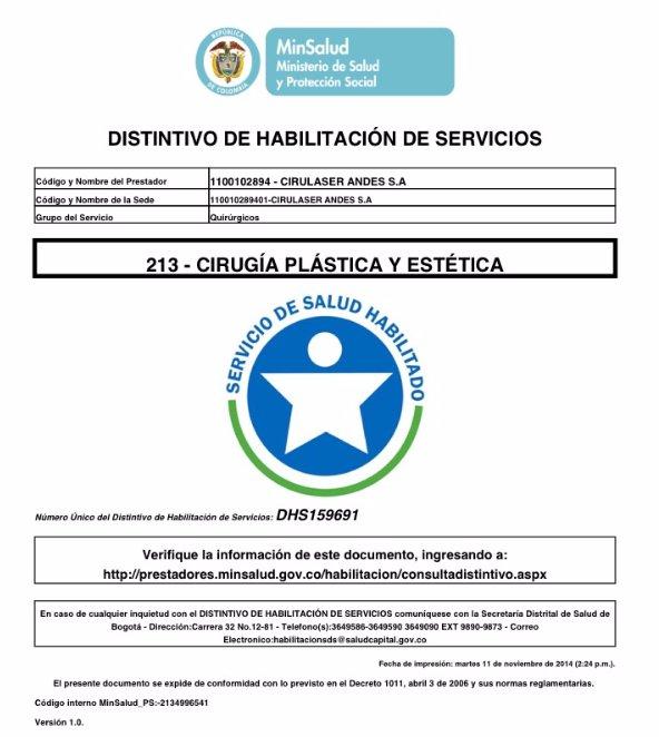 Acreditacion Cirugía Plástica y Estética DHS.159691