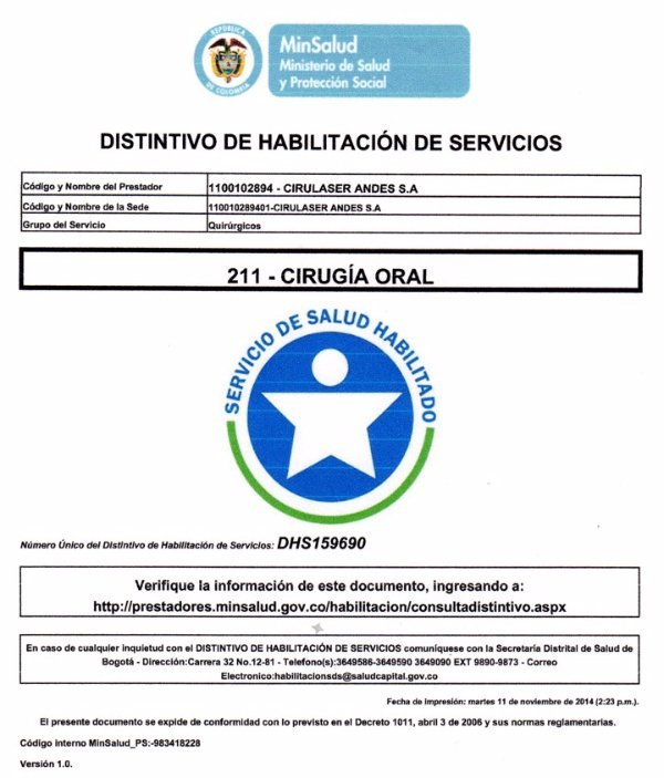 Acreditación Cirugía Oral DHS-159690
