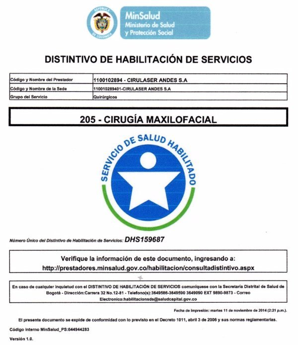Acreditación Cirugía Maxilofacial DHS-159687