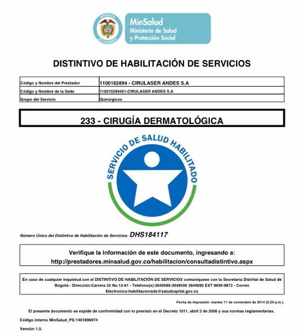 Acreditacion Cirugía Dermatológica DHS 184117