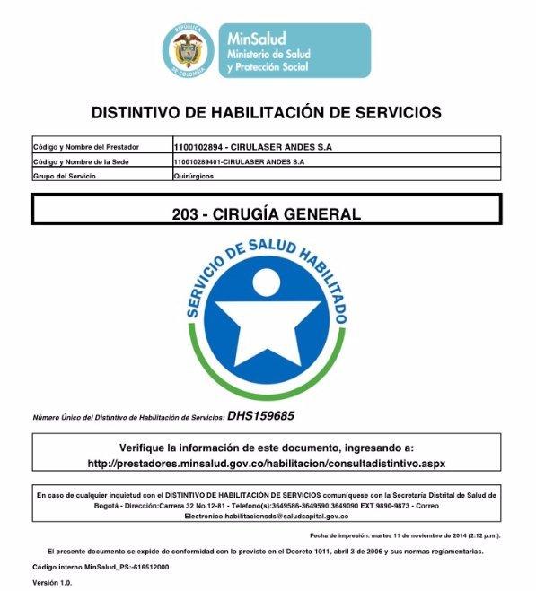 Acreditación Cirugía General DHS-159685