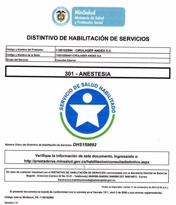 Acreditación Anestesia DHS-159692