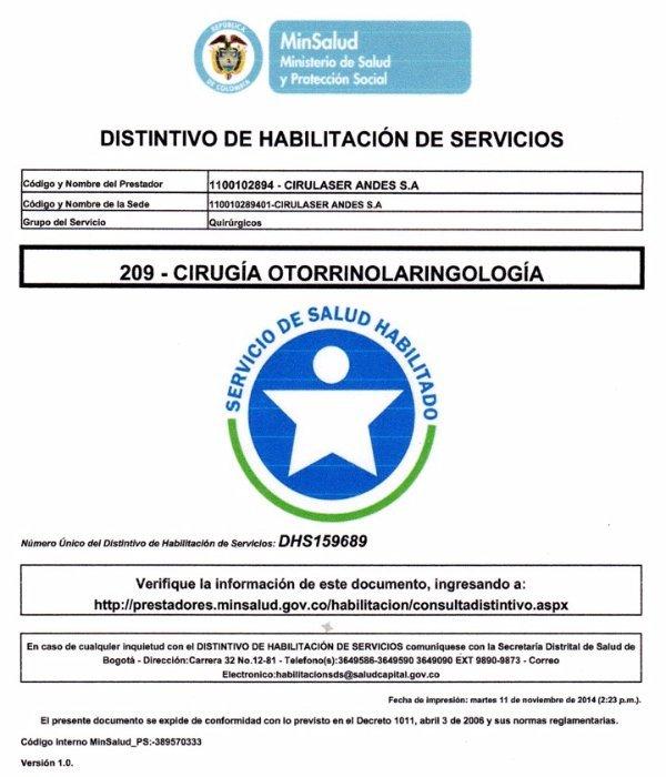 Acreditación Cirugía Otorrinolaringología DHS-159689
