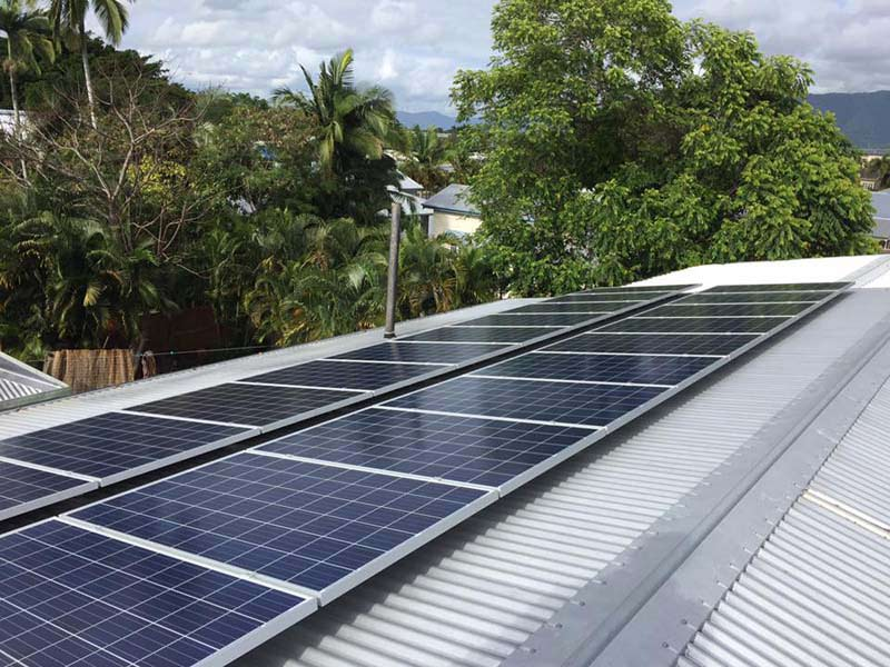 solar panels in a tropical area