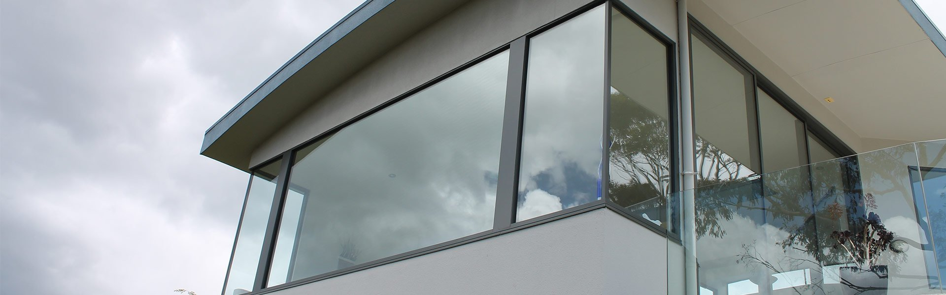 home balcony window and support on glass