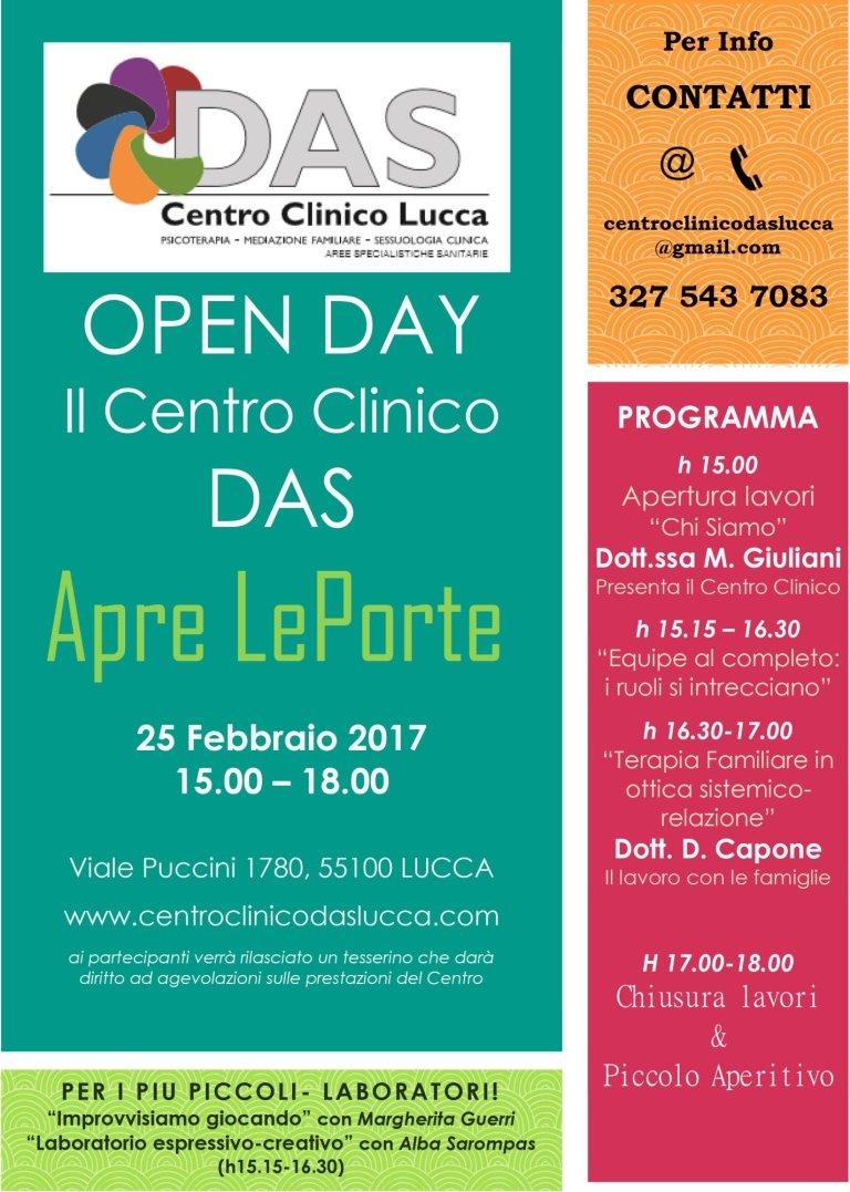 Sabato 25 febbraio 2017 dalle ore 15.00 alle ore 18.00 – OPEN DAY – Il Centro Clinico DAS apre le porte!