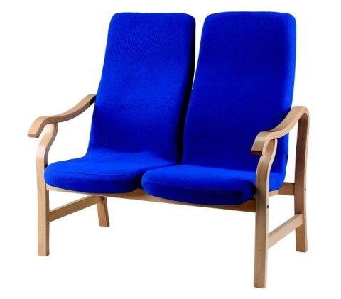 Panchina con doppio sedile imbottita con tessuto blu elettrico