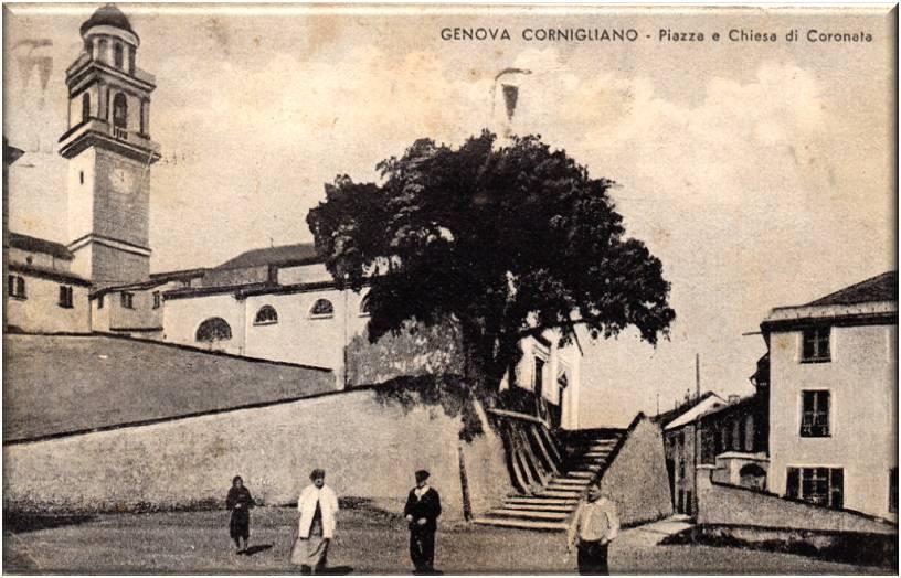 Piazza e Chiesa di Coronata foto storica