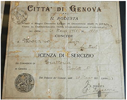 Licenza storica di Le Cantine di Mattellin del 1928