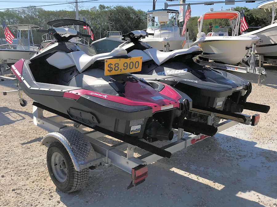 Pair of 2015 Sea-Doo Spark 2Up JetSki Personal Watercraft w/Cover & Aluminum Trailer