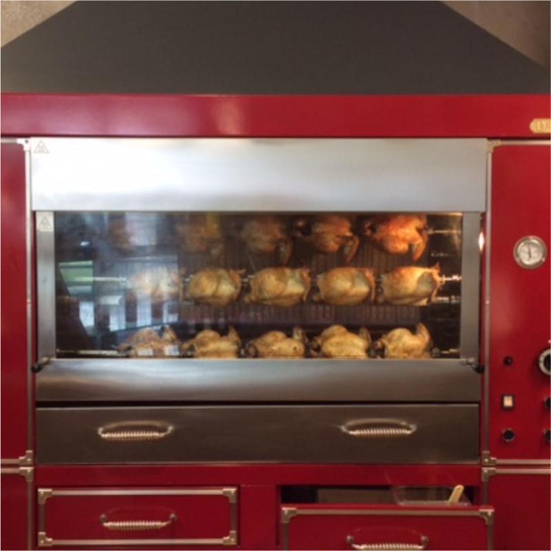 forno con pollo allo spiedo