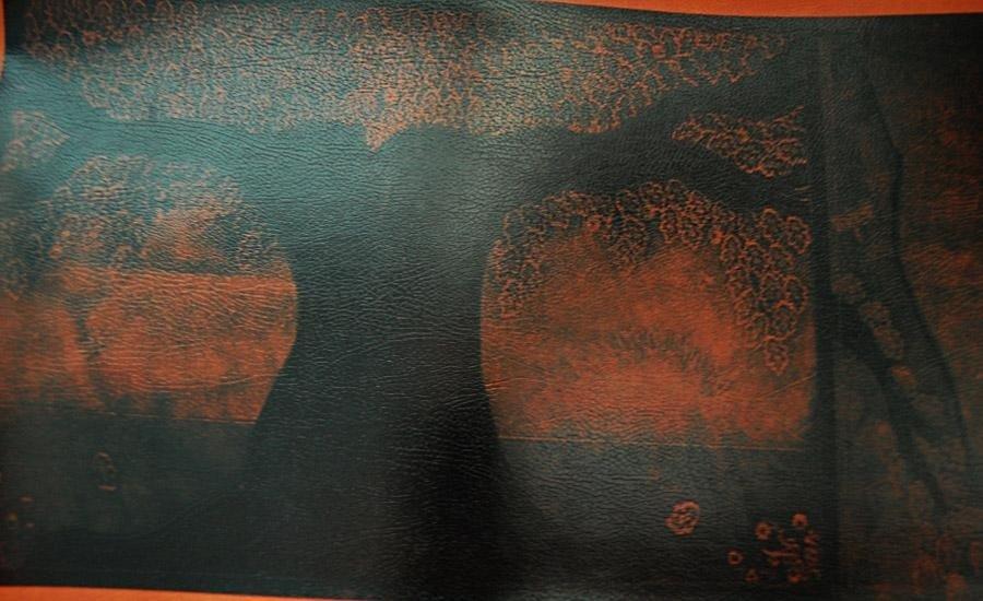 PELLE E SIMILARI Stampa serigrafica uv 4 colori su finta pelle marrone