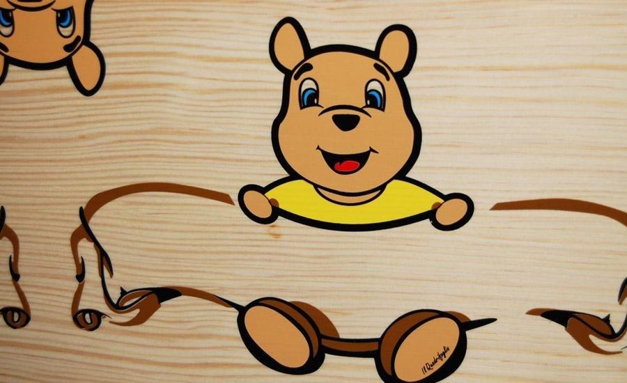 Serigrafia al tratto Stampa colori al tratto multicolore su legno