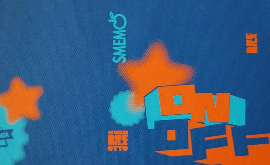 PELLE E SIMILARI Stampa serigrafica UV 2 colori su finta pelle azzurra
