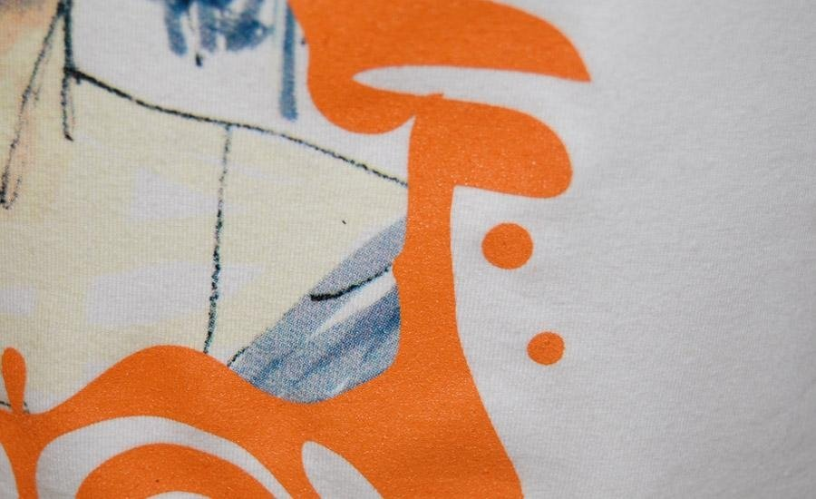 TESSUTI particolare stampa serigrafica su tshirt