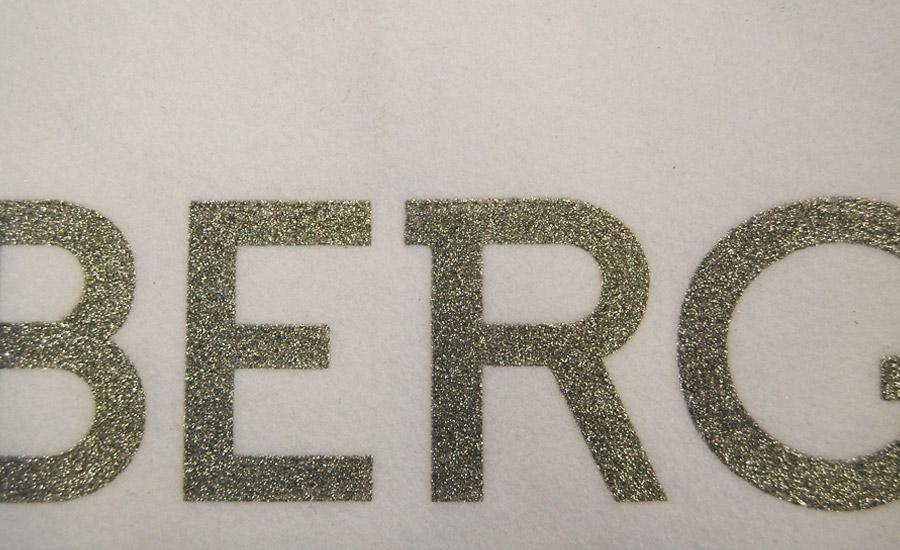 TESSUTI Serigrafia con glitter argento su panno bianco