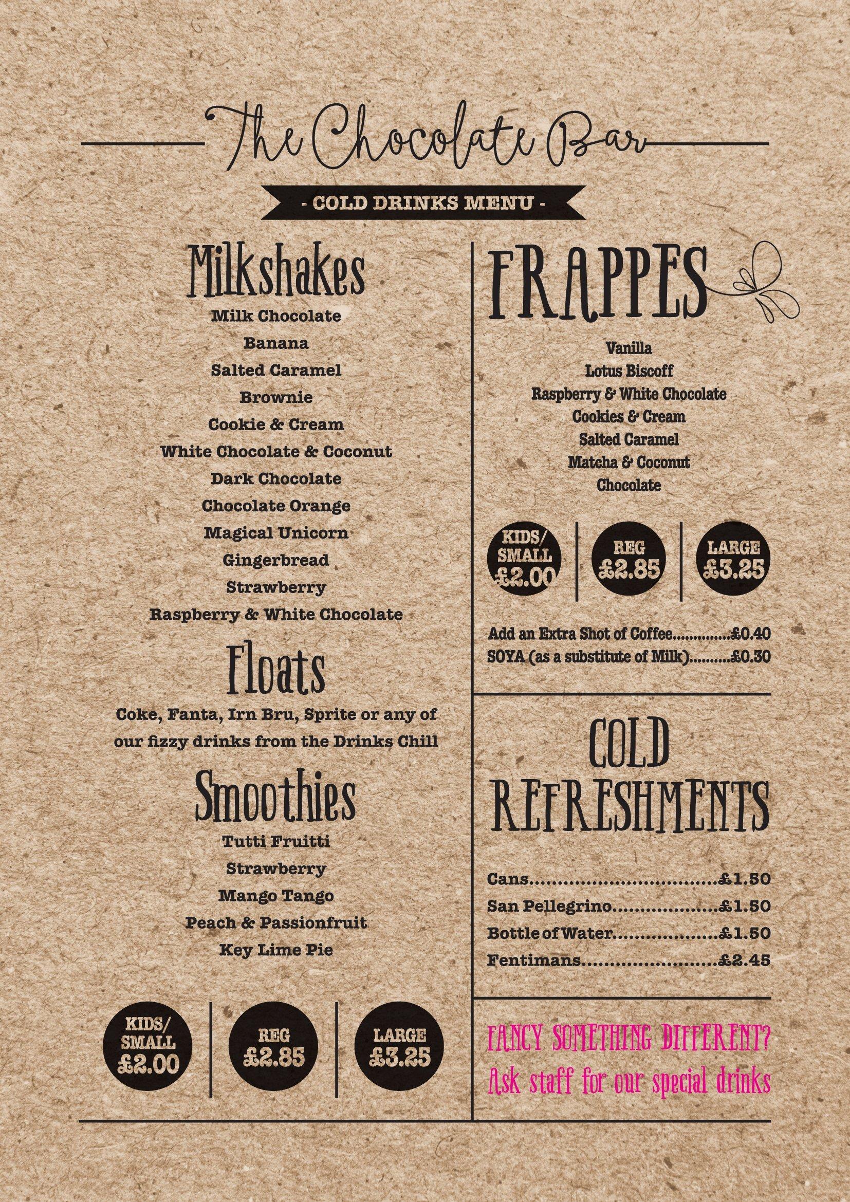 vintage cold drinks menu
